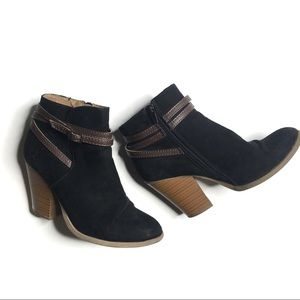 Just fab black and brown faux suede booties size 7